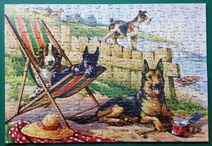 "1960s ""FAMILY FRIENDS"" JIGSAW PUZZLE SCOTTIE DOG ON HOLIDAY WITH CHUMS COMPLETE"