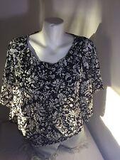 A.byer Women Black ,White  Blouse Size XL Made In Mexico 100%Polyester Bin60#22