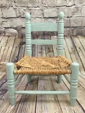 Vintage Handcrafted Little Blue Child's Wood Chair with Natural Woven Rush Seat