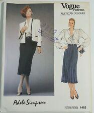 Vogue 1483 Adele Simpson Vintage Pattern Size 12 Skirt Blouse Jacket uncut