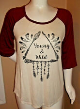 "New Size 1X Dailey Special Young & Wild white & burgundy top Bust 48"" X Len 25"""