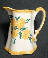 "Vintage Cash Family Pottery 5.25"" Yellow Floral Creamer Pitcher Hand Painted USA"