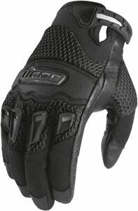 Icon Women's Twenty-Niner Leather/Textile Gloves CE Certified (Black) M (Medium)
