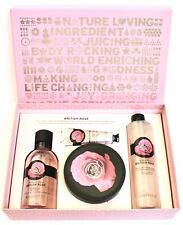 THE BODY SHOP British Rose BOXED SET OF 4 Butter,Bath Foam,Hand Cream,Shower Gel