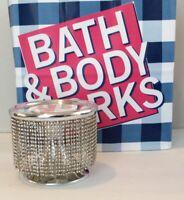 BATH & BODY WORKS PEDESTAL RHINESTONE CHAIN LARGE 3 WICK CANDLE HOLDER