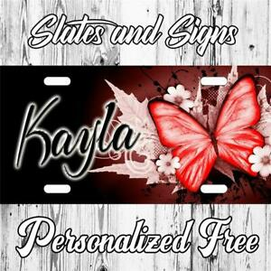 Butterfly Red Sign Custom Monogram License Plate Auto Car Tag Personalize vanity