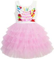 Girls Dress Birthday Princess Ruffle Dress Cake Balloon Print Age 3-10 Years