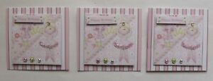 PK 3 PINK BALLERINAS EMBELLISHMENT TOPPERS 4 CARDS