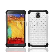Diamond Rhinestone Bling Hard Soft Case For Samsung Galaxy Note 3 III - White