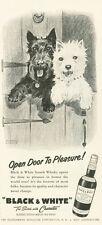 "1958 Black & White Scotch Whisky Scotties ""Open Door to Pleasure!"" PRINT AD"