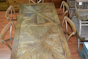 Recycled Rustic  Elm Wood Parquetry  Bench set -3 pieces 150cm,Bench setting ,