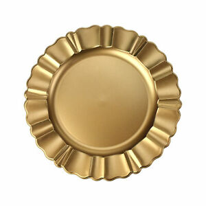 Scalloped Edge Matte Charger Plate, Gold, 12-1/2-Inch