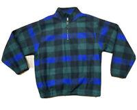 VTG 90's M.E. Sport Men's L 1/4 Zip Fleece Pullover Sweater Green/Blue Plaid