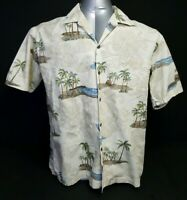 PACIFIC LEGEND APPAREL Mens Hawaiian Camp Short Sleeve Palm Tree Shirt Sz Large