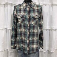 Medium - BKE Southwestern Plaid Fringe Raw Edge Flannel Shirt