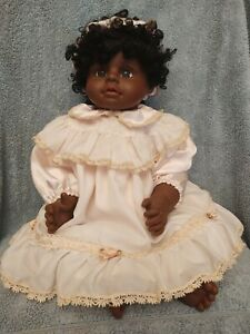 "Heritage Mint LTD African American Doll 20"" -2000 Short Black Curly Hair"