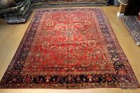 Circa 1900's Antique Persian Sarouk Mahajeran 10' X 14' Red Persian Oriental Rug