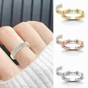"""""""LOVE YOU"""" Built-in Open-style Diamonds Ring Valentine's Ring Women's Day H4T5"""