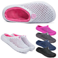 Mens Womens Winter Slippers Indoor Outdoor Mules Plush Lined Warm House Shoes UK