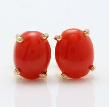 3.21 Carat Natural Orange Coral in 14K Solid Yellow Gold Stud Earrings