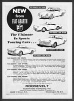 1960 Fiat-Abarth 850 Coupe 1600 Spyder 2200 Spyder Coupe art vintage print ad