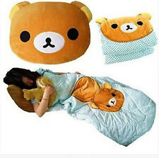San-x Rilakkuma Relax Bear Back Cushion Pillow Air Conditioning Blanket 2 in 1