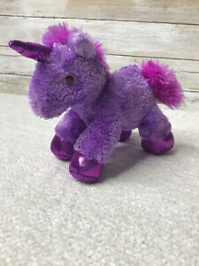 """Aurora Purple UNICORN Plush Stuffed Toy 7"""" 2016 sparkly horn and hooves"""