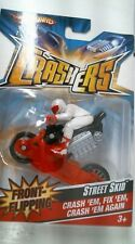2008 Hot Wheels Crashers Street Skid Motorcycle Front Flipping - Red