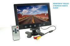 MONITOR TELECAMERA 9 LCD 2 INGRESSI VIDEO RETROMARCIA STAFFA VIDEOSORVEGLIANZA