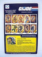 GI JOE FUEGO FILE CARD Vintage Argentina Rip Cord FULL UNCUT / GREAT SHAPE 1984