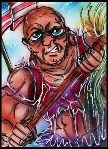 TOXIC AVENGER Sketch Card Painting by Bianca Thompson