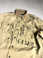 Polo Ralph Lauren Medium Brown Utility Hunting Fishing Shirt Jacket RRL Military