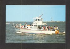 POSTCARD: CHARTER FISHING BOAT SEABIRD, GREAT SOUTH BAY & FIRE ISLAND LIGHTHOUSE