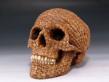 RATTAN - WEAVED SKULL  SKELETON HEAD  FIGURINE STATUE  HALLOWEEN