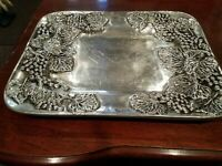"""Signed 16""""x12""""heavy cast aluminum tray, Grapes & leaves,Old Town Imports, Mexico"""