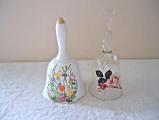 "Vintage Lot Of 2 Floral Themed Bells "" Beautiful Collectible Items """