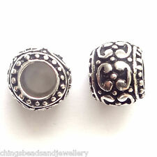10 Antique Silver Beads 10x9mm Hole 5mm For European Charm Bracelet