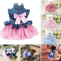 Pet Cute Dog Clothes Princess Dress Cat Skirt Cotton Bow knot  XS/S/M/L/XL/2XL