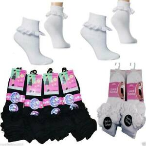 3,6, 12 Pairs Girls  Cotton School Socks for Kids, Frilly Lace Ankle Socks