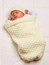 Baby Cocoon Bunting Sleeping Bag & Hat  0-3 mths ~Easy  Aran Crochet Pattern