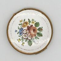 Vintage Guilloche EVANS ENAMEL COMPACT White Red Rose Yellow Tulip Floral Design