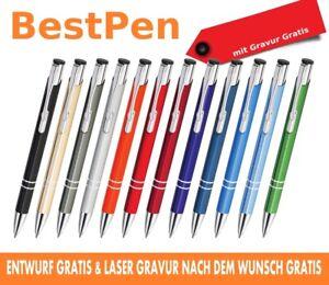 10-1000 STÜCK METALL KUGELSCHREIBER mit Gravur / mit Werbung. Stifte mit gravur