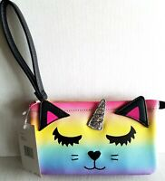 Luv BETSEY JOHNSON Unicorn Wristlet Rainbow Wallet Pouch Unique