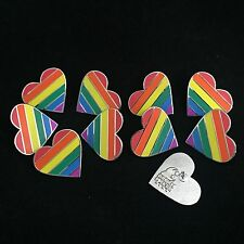 "10 pack of 1"" LGBT pride rainbow heart shaped hard enamel pins"