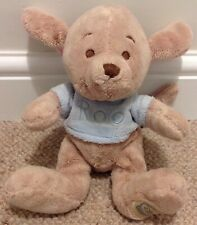 """Disney Store Little Roo Baby Plush Soft Toy Kangaroo 8"""" Beige with Blue T Shirt"""