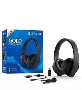 Sony Wireless Headset PlayStation 4 Gold Gaming PS4 Kopfhörer schwarz unbenützt
