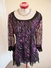 CURVESQUE USA Black Purple Pink TOP Size L 16 BNWT NEW Lilac Embossed Print