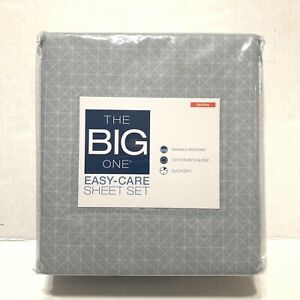 The Big One Queen Sheet Set - Gray Gridlock  NWT
