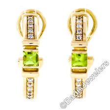 Di Modolo 18k Yellow Gold 0.98ctw Buffed Peridot & Diamond Cuff Huggie Earrings