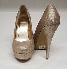 Women Gold Embellished RoundedToe Platform Shoes Size 7 Women's Shoes